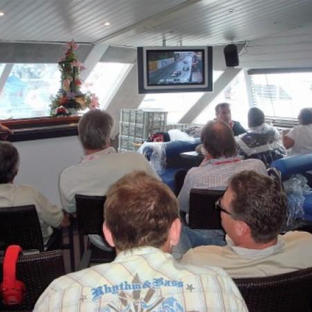 Ecran TV à bord du bateau